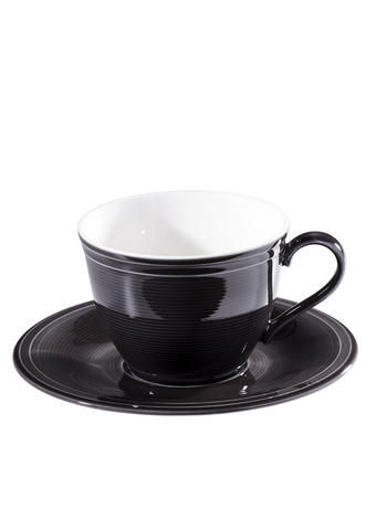 ŠÁLEK NA KÁVU S PODŠÁLKEM - bílá/černá, Basics, keramika - Novel