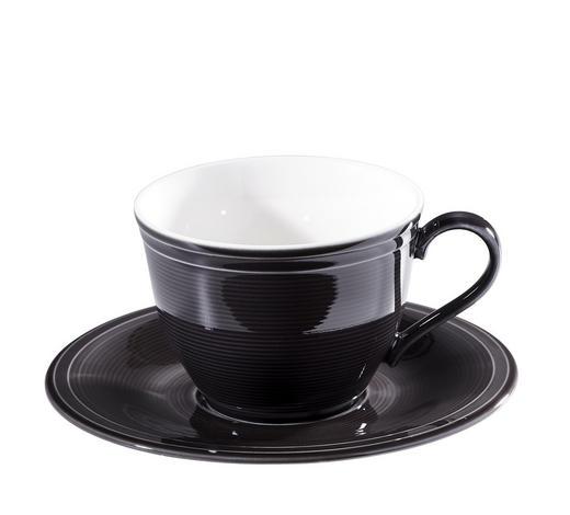 ŠÁLEK NA KÁVU S PODŠÁLKEM, porcelán - bílá/černá, Basics, keramika - Novel