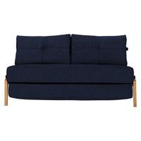 SCHLAFSOFA in Holz, Metall, Textil Blau  - Blau/Eichefarben, MODERN, Holz/Textil (147/67/96cm) - Innovation