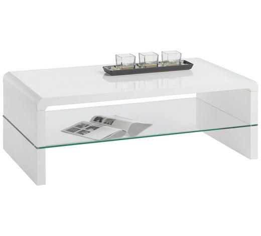 COUCHTISCH in Glas, Holzwerkstoff 110/60/40 cm - Weiß, Design, Glas/Holzwerkstoff (110/60/40cm) - Carryhome