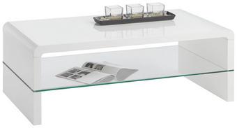 KONFERENČNÍ STOLEK - bílá, Design, dřevěný materiál/sklo (110/40/60cm) - CARRYHOME