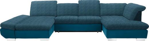 WOHNLANDSCHAFT in Textil Petrol - Chromfarben/Petrol, Design, Kunststoff/Textil (204/350/211cm) - Xora