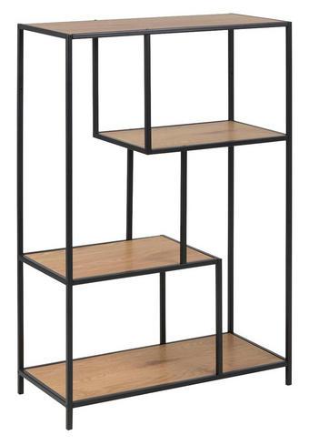 REGAL - boje hrasta/crna, Trend, drvni materijal/metal (77/114/35cm) - Carryhome