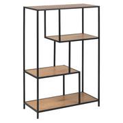 REGAL 77/114/35 cm črna, hrast - črna/hrast, Trend, kovina/leseni material (77/114/35cm) - Carryhome