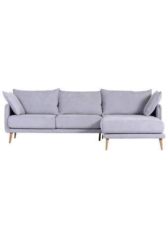 WOHNLANDSCHAFT Hellblau Mikrofaser - Naturfarben/Hellblau, Design, Holz/Textil (270/160cm) - Carryhome