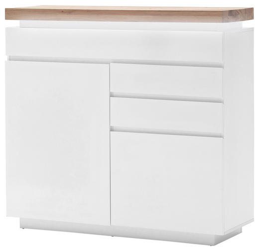 KOMMODE Eiche massiv Eichefarben, Weiß - Eichefarben/Weiß, Design, Holz/Holzwerkstoff (120/114/40cm)