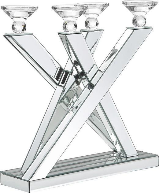 KERZENHALTER - Klar, Basics, Glas/Holz (50/47,5/13cm) - Ambia Home