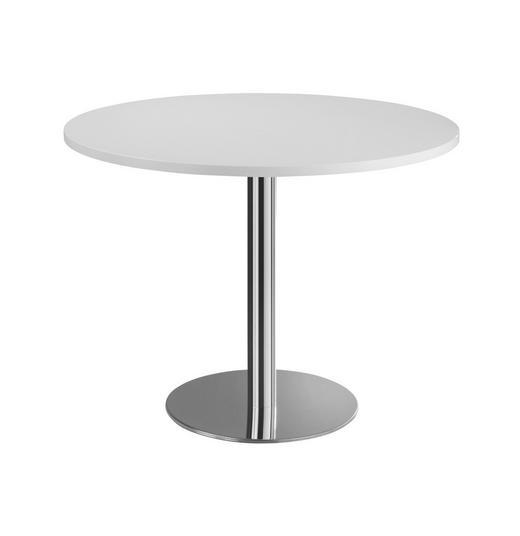 KONFERENZTISCH - Chromfarben/Weiß, KONVENTIONELL, Holzwerkstoff/Metall (100cm)