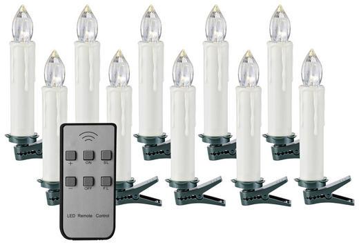 KERZE MIT LED 1,8/12,5 cm Transparent, Weiß - Transparent/Weiß, Basics, Kunststoff (1,8/12,5cm) - X-MAS