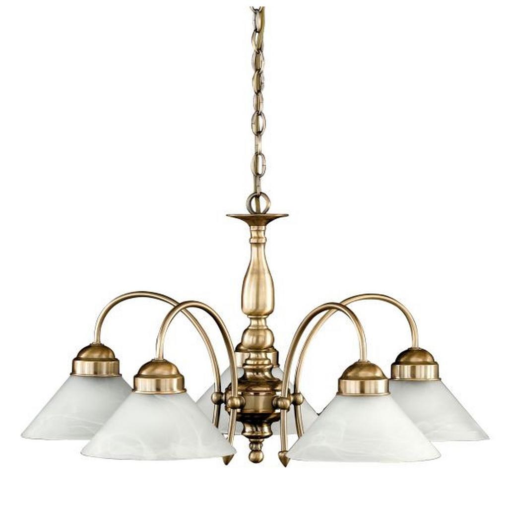Hängeleuchte aus Altmessing mit separaten Lampenschirmen