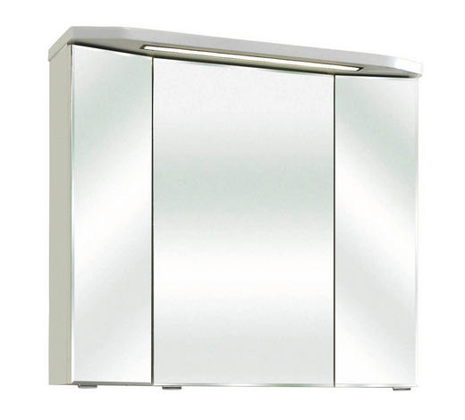 SKŘÍŇKA SE ZRCADLEM, bílá - bílá, Design, kompozitní dřevo/sklo (80/73/18cm) - Xora