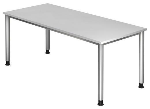 SCHREIBTISCH Weiß - Silberfarben/Weiß, KONVENTIONELL, Metall (180/68-76/80cm)