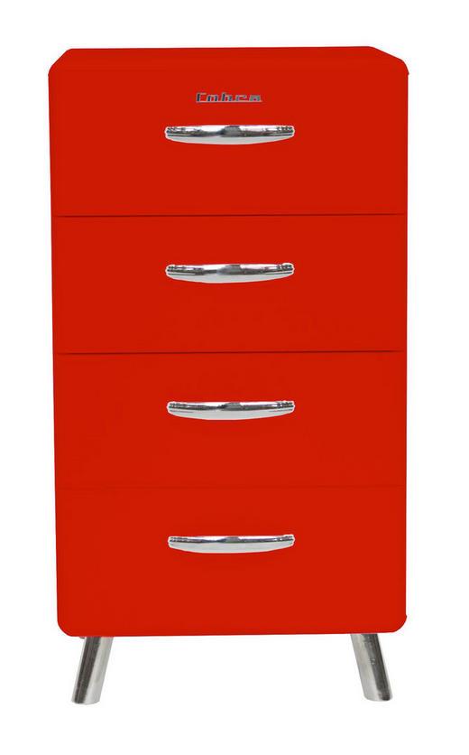 KOMMODE Rot - Chromfarben/Rot, Design, Metall (56/92/43cm) - Carryhome