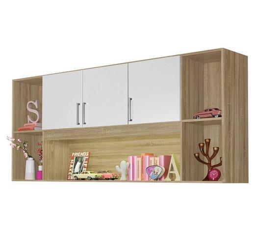 REGAL in 212/93/38 cm Weiß, Eichefarben - Eichefarben/Silberfarben, Design, Holzwerkstoff/Kunststoff (212/93/38cm) - Carryhome