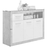 KOMODA, šedá, bílá - bílá/šedá, Design, kompozitní dřevo/umělá hmota (117/88/37cm) - Carryhome