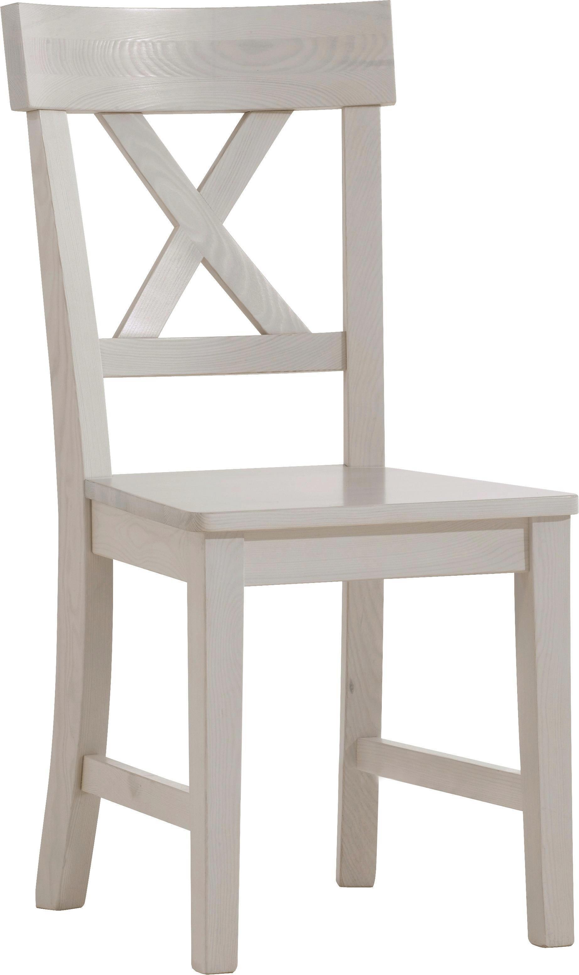 STUHL Kiefer Massiv Weiß   Weiß, LIFESTYLE, Holz (43,5/93