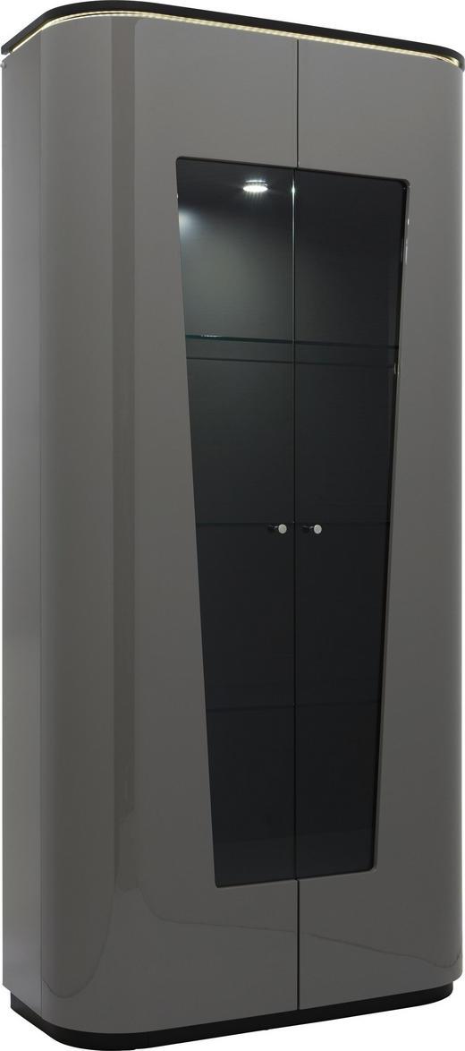 VITRINE Eiche furniert Hellbraun, Schwarz - Hellbraun/Schwarz, Design, Glas/Holz (100/210/48cm) - Ambiente
