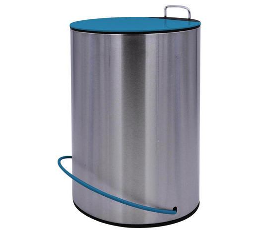 NÁŠLAPNÝ KOŠ, modrá, barvy nerez oceli - modrá/barvy nerez oceli, Basics, kov (20,5/31,5cm) - Sadena