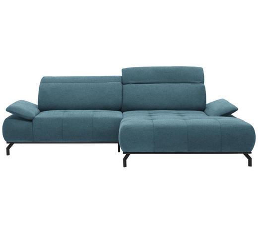 WOHNLANDSCHAFT in Textil Türkis  - Türkis/Schwarz, Design, Textil/Metall (270/175cm) - Carryhome