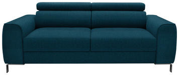 DREISITZER-SOFA Webstoff Türkis - Türkis/Chromfarben, Design, Textil/Metall (199/76-96/98cm) - Hom`in