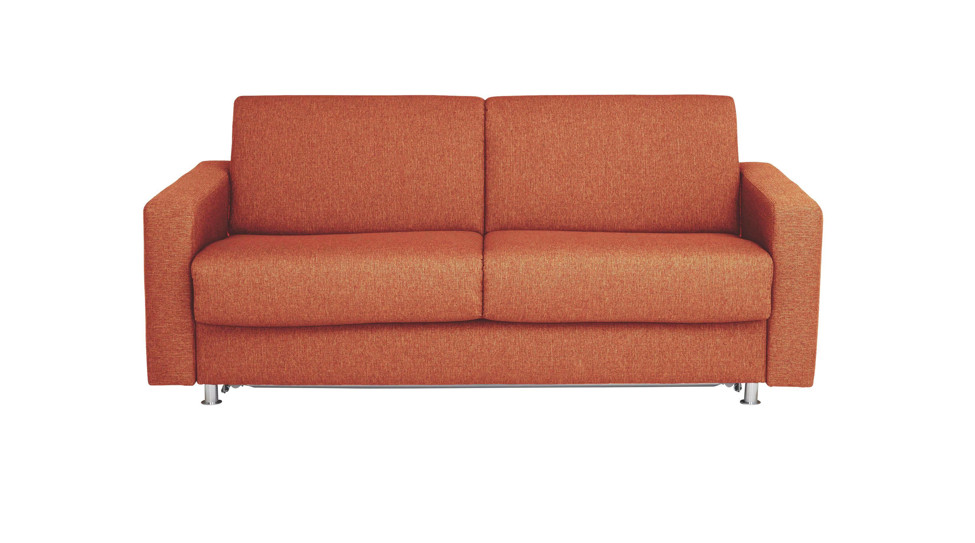 SCHLAFSOFA Flachgewebe Rot - Chromfarben/Rot, KONVENTIONELL, Textil/Metall (195/84/100cm)