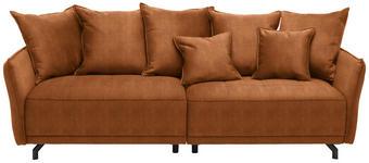 MEGASOFA in Textil Orange  - Schwarz/Orange, Design, Textil/Metall (226/91/103cm) - Carryhome