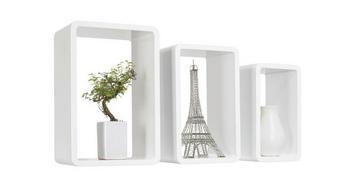 SADA NÁSTĚNNÝCH REGÁLŮ - bílá, Design, dřevěný materiál (45/40/35/30/25/20/20cm) - BOXXX