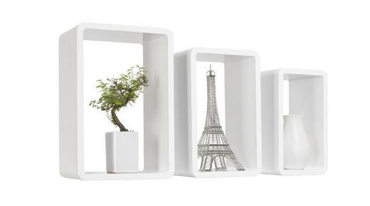 SADA NÁSTĚNNÝCH REGÁLŮ - bílá, Design, kompozitní dřevo (45/40/35/30/25/20/20cm) - Boxxx