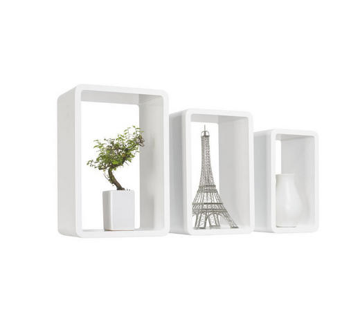 SADA NÁSTĚNNÝCH REGÁLŮ, bílá,  - bílá, Design, kompozitní dřevo (45/40/35/30/25/20/20cm) - Boxxx