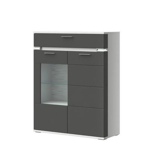 HIGHBOARD Melamin Graphitfarben, Weiß - Graphitfarben/Alufarben, Design, Glas/Holzwerkstoff (100,1/126,2/41cm) - Stylife