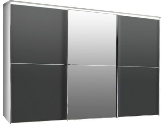 SCHWEBETÜRENSCHRANK 3-türig Anthrazit - Chromfarben/Anthrazit, Design, Glas/Holzwerkstoff (280/222/68cm) - Moderano