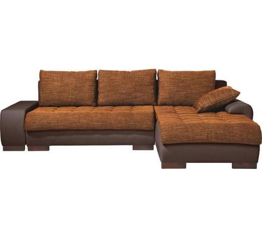 WOHNLANDSCHAFT in Textil Braun, Orange - Wengefarben/Braun, Design, Holz/Textil (278/198cm) - Carryhome