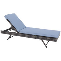 GARTENLIEGE - Grau/Hellblau, Design, Kunststoff/Textil (200/34-86/65cm) - Amatio