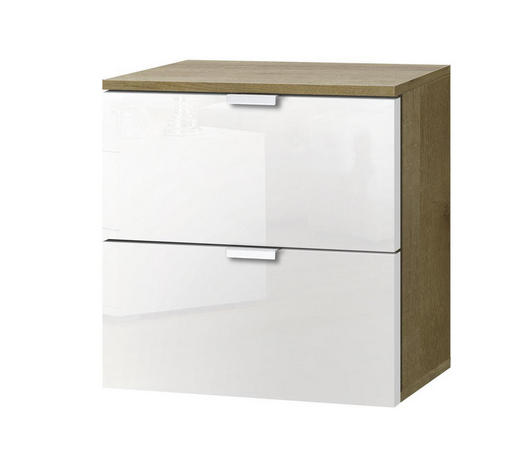 KOMMODE Weiß, Sonoma Eiche  - Alufarben/Weiß, KONVENTIONELL, Glas/Metall (40/42/42cm) - Carryhome