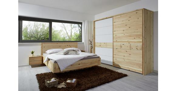 SCHWEBETÜRENSCHRANK in massiv Zirbe Weiß, Zirbelkieferfarben - Zirbelkieferfarben/Weiß, Natur, Glas/Holz (250/225/65cm) - Valnatura