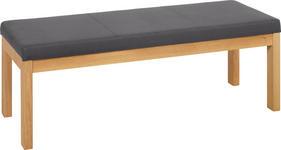 HOCKERBANK Mikrofaser Eiche massiv Anthrazit, Eichefarben - Eichefarben/Anthrazit, KONVENTIONELL, Holz/Textil (150/49/45cm) - Voleo
