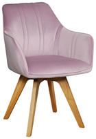 STOL, les, tekstil svetlo roza - hrast/svetlo roza, Moderno, tekstil/les (61/86/62,5cm) - Venda