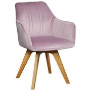 STOLICA - svijetlo ružičasta/boje hrasta, Moderno, drvo/tekstil (61/86/62,5cm) - Venda