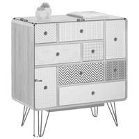 KOMODA - bílá/šedá, Design, kov/kompozitní dřevo (80/85/40cm) - Carryhome