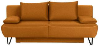 SCHLAFSOFA in Textil Orange - Schwarz/Orange, MODERN, Textil/Metall (202/90/91cm) - Xora