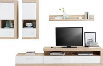 OBÝVACÍ STĚNA - bílá/černá, Design, dřevěný materiál/umělá hmota (295/192/42cm) - TI`ME