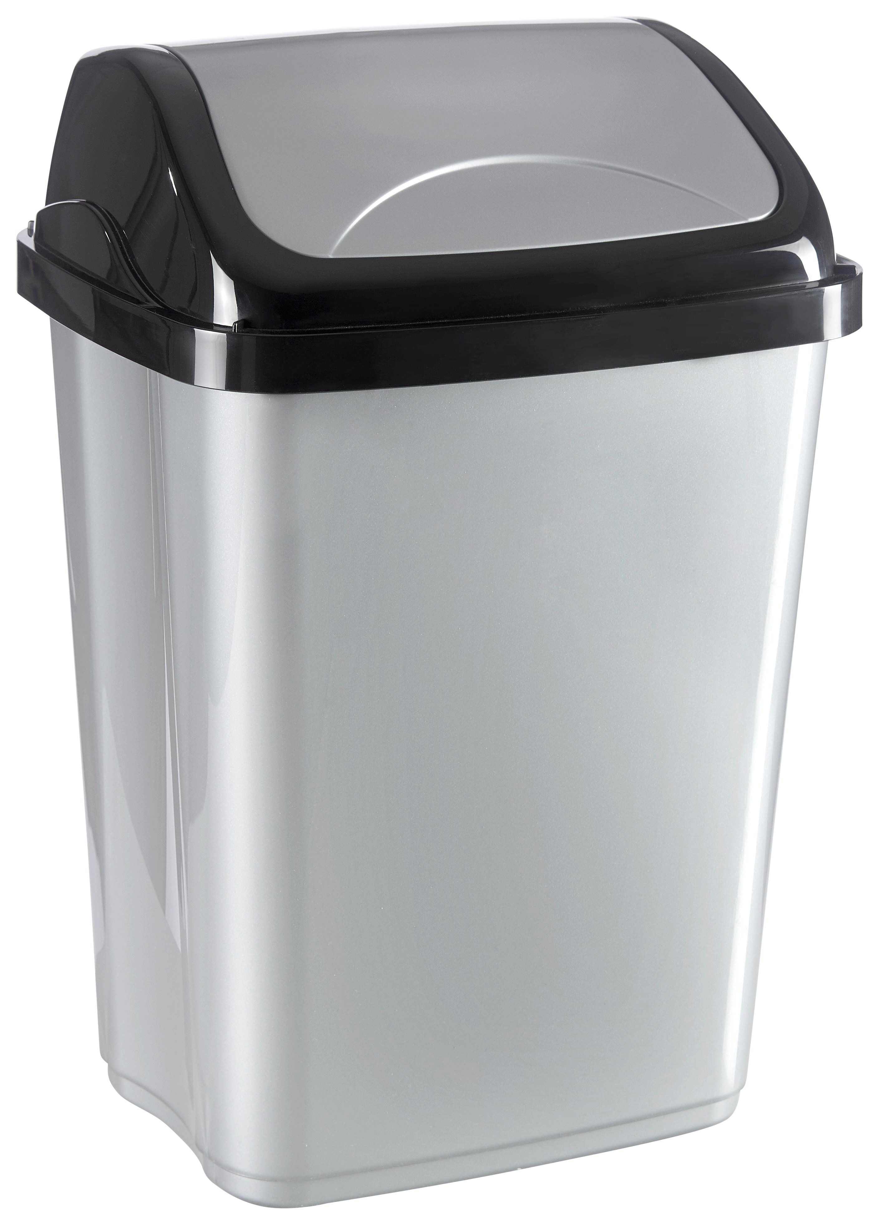 PAPPERSKORG MED VIPPLOCK - silver/svart, Basics, plast (19,5/25/37,5cm) - Homeware