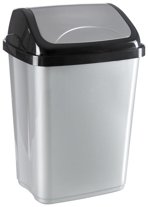 SCHWINGDECKELEIMER 10 l - Silberfarben/Schwarz, Basics, Kunststoff (19,5/25/37,5cm) - Homeware