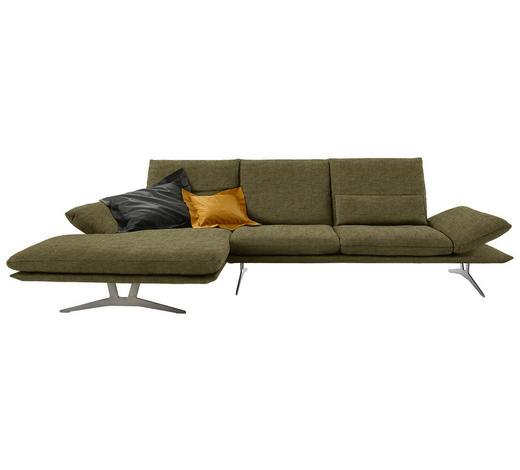 WOHNLANDSCHAFT in Textil Grün - Grün, Design, Textil/Metall (159/314cm) - Koinor