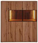 HIGHBOARD Buche massiv gebürstet, gewachst, lackiert, matt Anthrazit, Buchefarben - Anthrazit/Buchefarben, Design, Glas/Holz (122,5/138,5/39cm) - Valnatura