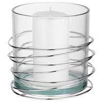 WINDLICHT - Klar/Silberfarben, Design, Glas/Metall (16,8/15,4cm) - Ambia Home