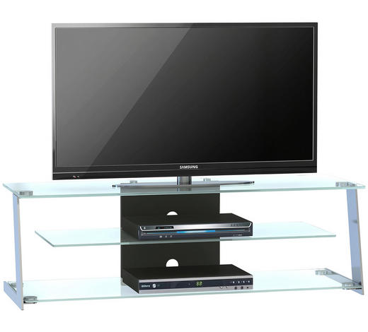 TV-ELEMENT 130/42/45 cm - Edelstahlfarben, Design, Glas/Metall (130/42/45cm) - Voleo