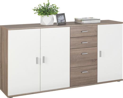 KOMMODE Trüffeleichefarben, Weiß - Silberfarben/Trüffeleichefarben, KONVENTIONELL, Holzwerkstoff/Kunststoff (160/82/35cm)