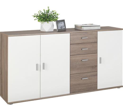 KOMODA, bílá, barvy lanýžového dubu - bílá/barvy stříbra, Konvenční, kompozitní dřevo/umělá hmota (160/82/35cm)