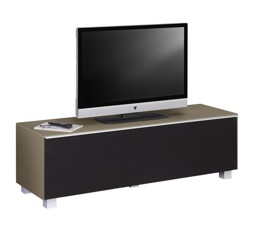TV-ELEMENT 140/43/42 cm  - Sandfarben/Alufarben, Design, Glas/Holzwerkstoff (140/43/42cm)